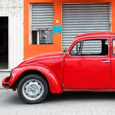 ¡Viva Mexico! Square Collection - Red VW Beetle and Orange Facade-Philippe Hugonnard-Photographic Print