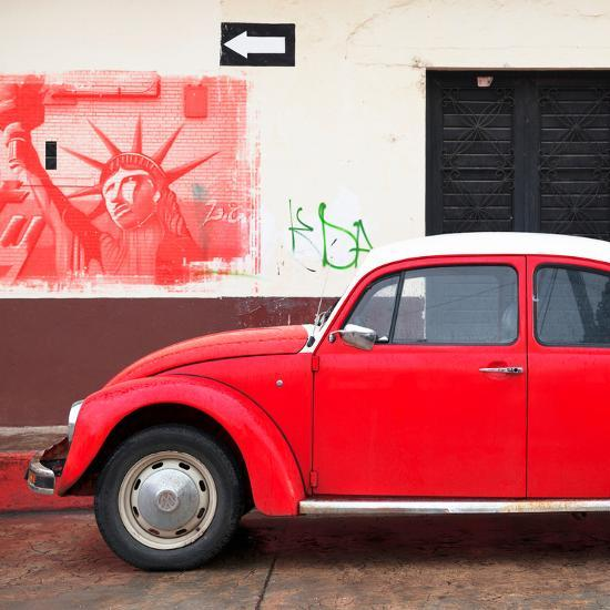 ¡Viva Mexico! Square Collection - Red VW Beetle Car and American Graffiti-Philippe Hugonnard-Photographic Print