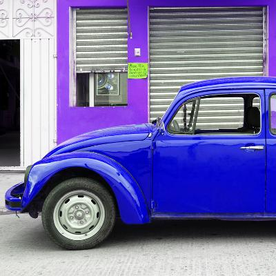 ¡Viva Mexico! Square Collection - Royal Blue VW Beetle and Purple Facade-Philippe Hugonnard-Photographic Print