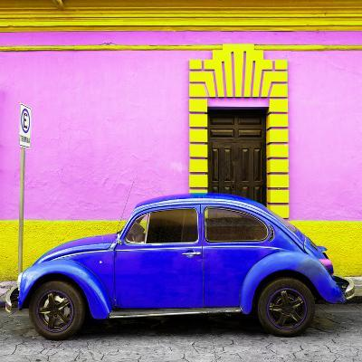 ¡Viva Mexico! Square Collection - Royal Blue VW Beetle - San Cristobal-Philippe Hugonnard-Photographic Print