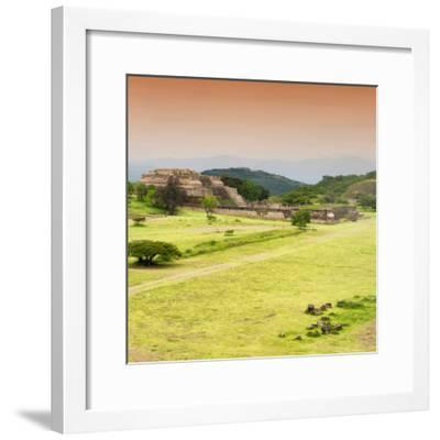 ¡Viva Mexico! Square Collection - Ruins of Monte Alban at Sunset III-Philippe Hugonnard-Framed Photographic Print