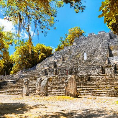 ¡Viva Mexico! Square Collection - Ruins of the ancient Mayan City of Calakmul with Fall Colors-Philippe Hugonnard-Photographic Print