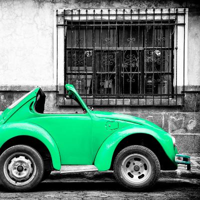 ¡Viva Mexico! Square Collection - Small Coral Green VW Beetle Car-Philippe Hugonnard-Photographic Print