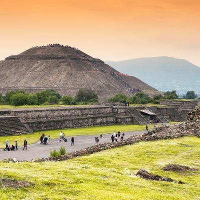 ¡Viva Mexico! Square Collection - Teotihuacan Pyramids at Sunset II-Philippe Hugonnard-Photographic Print