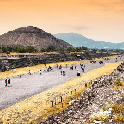¡Viva Mexico! Square Collection - Teotihuacan Pyramids at Sunset-Philippe Hugonnard-Photographic Print