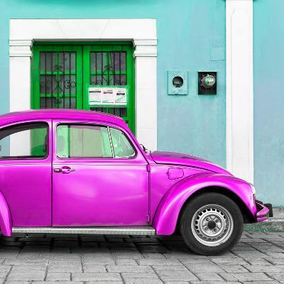 ¡Viva Mexico! Square Collection - The Deep Pink VW Beetle Car with Turquoise Street Wall-Philippe Hugonnard-Photographic Print