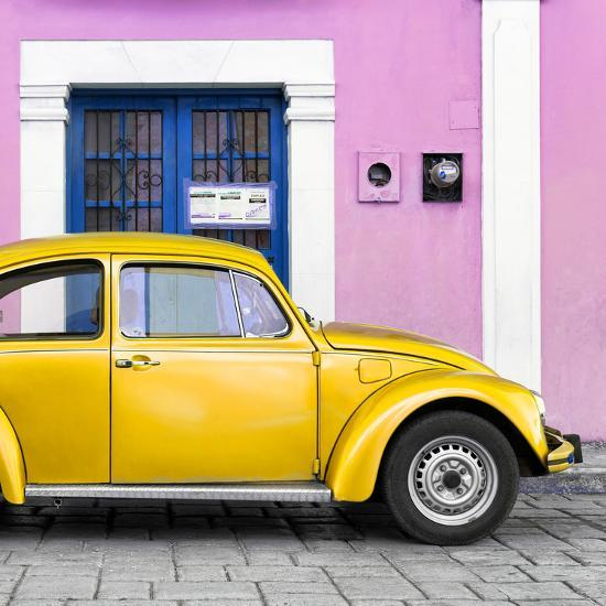 Square Collection The Gold Vw Beetle Car With Light Pink Street Wall Photographic Print By Philippe Hugonnard Art