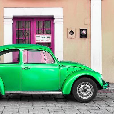 ¡Viva Mexico! Square Collection - The Green VW Beetle Car with Salmon Street Wall-Philippe Hugonnard-Photographic Print