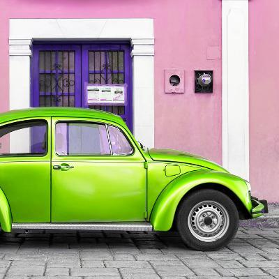 ¡Viva Mexico! Square Collection - The Kelly Green VW Beetle Car with Light Pink Street Wall-Philippe Hugonnard-Photographic Print
