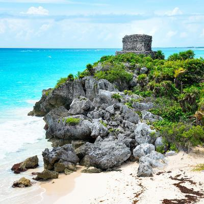 ¡Viva Mexico! Square Collection - Tulum Ruins along Caribbean Coastline IX-Philippe Hugonnard-Photographic Print