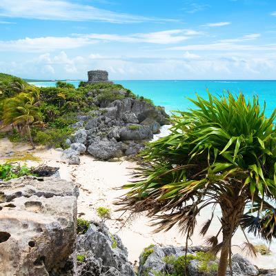 ¡Viva Mexico! Square Collection - Tulum Ruins along Caribbean Coastline-Philippe Hugonnard-Photographic Print