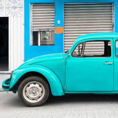 ¡Viva Mexico! Square Collection - Turquoise VW Beetle and Blue Facade-Philippe Hugonnard-Photographic Print
