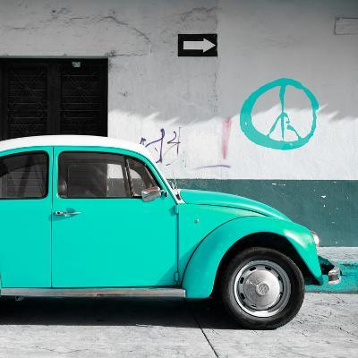 ¡Viva Mexico! Square Collection - Turquoise VW Beetle Car & Peace Symbol-Philippe Hugonnard-Photographic Print