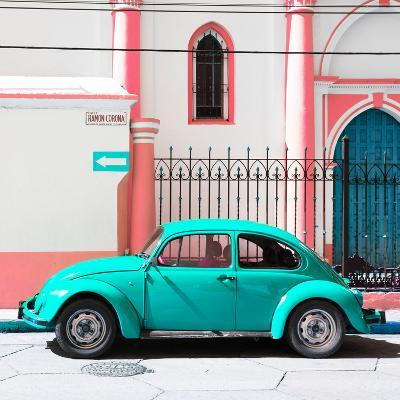 ¡Viva Mexico! Square Collection - Turquoise VW Beetle in San Cristobal-Philippe Hugonnard-Photographic Print