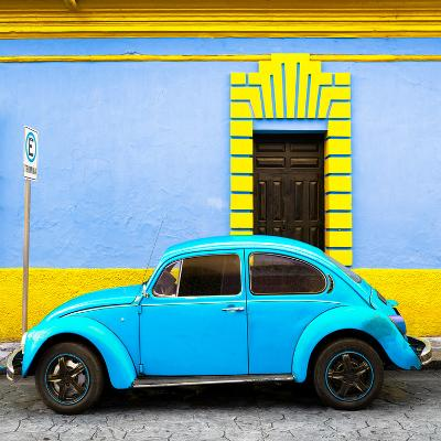 ¡Viva Mexico! Square Collection - Turquoise VW Beetle - San Cristobal-Philippe Hugonnard-Photographic Print