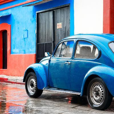 ¡Viva Mexico! Square Collection - VW Beetle and Blue Wall II-Philippe Hugonnard-Photographic Print