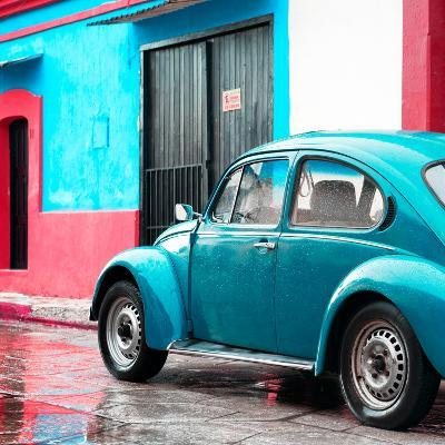¡Viva Mexico! Square Collection - VW Beetle and Light Blue Wall II-Philippe Hugonnard-Photographic Print