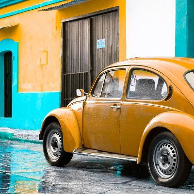 ¡Viva Mexico! Square Collection - VW Beetle and Orange Wall II-Philippe Hugonnard-Photographic Print