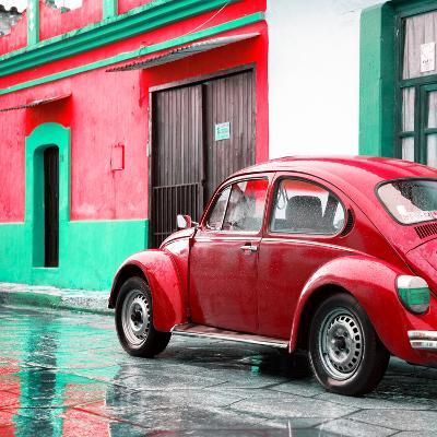 ¡Viva Mexico! Square Collection - VW Beetle and Red Wall-Philippe Hugonnard-Photographic Print