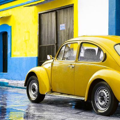 ¡Viva Mexico! Square Collection - VW Beetle and Yellow Wall II-Philippe Hugonnard-Photographic Print