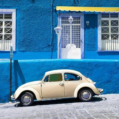 ¡Viva Mexico! Square Collection - VW Beetle Car and Blue Wall-Philippe Hugonnard-Photographic Print