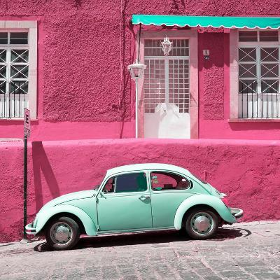 ¡Viva Mexico! Square Collection - VW Beetle Car and Pink Wall-Philippe Hugonnard-Photographic Print
