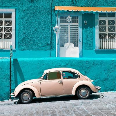 ¡Viva Mexico! Square Collection - VW Beetle Car and Turquoise Wall-Philippe Hugonnard-Photographic Print