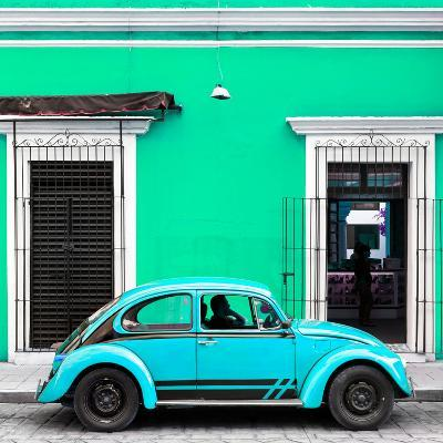 ¡Viva Mexico! Square Collection - VW Beetle Car - Coral Green & Skyblue-Philippe Hugonnard-Photographic Print
