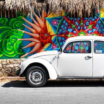 ¡Viva Mexico! Square Collection - White VW Beetle Car in Cancun-Philippe Hugonnard-Photographic Print