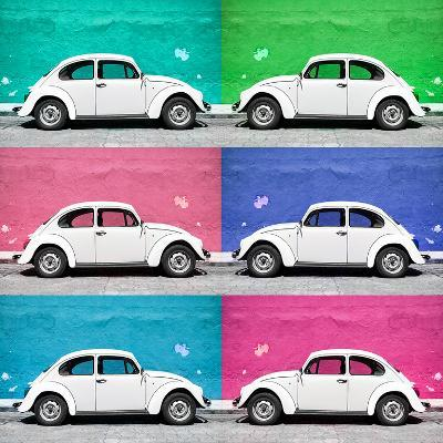 ¡Viva Mexico! Square Collection - White VW Beetle Cars & Color Walls II-Philippe Hugonnard-Photographic Print