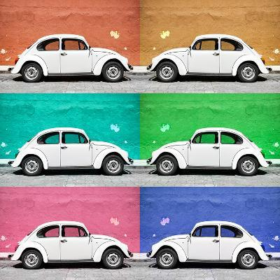 ¡Viva Mexico! Square Collection - White VW Beetle Cars & Color Walls-Philippe Hugonnard-Photographic Print