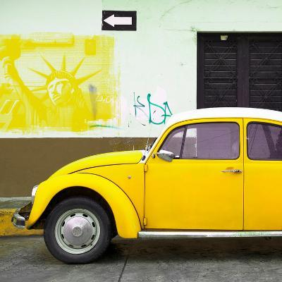 ¡Viva Mexico! Square Collection - Yellow VW Beetle Car and American Graffiti-Philippe Hugonnard-Photographic Print