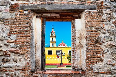 ¡Viva Mexico! Window View - Courtyard of a Church in Puebla-Philippe Hugonnard-Photographic Print