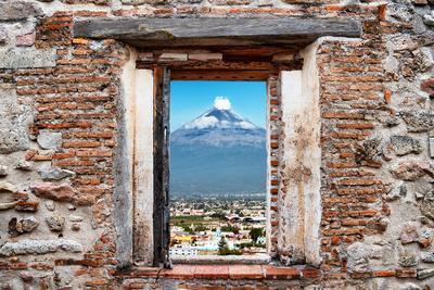 ?Viva Mexico! Window View - Popocatepetl Volcano in Puebla-Philippe Hugonnard-Photographic Print