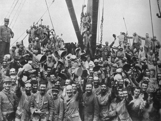 Vive la France: French troops on board a transport going to the Dardanelles', 1915-Unknown-Photographic Print