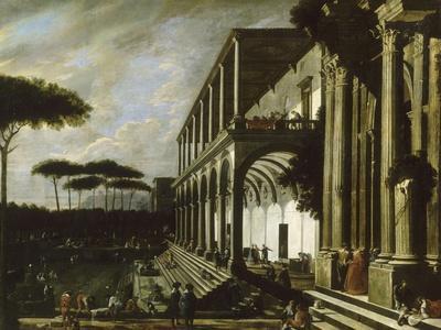 """Fête dans le jardin d'un palais dit """"portiques de deux grands édifices"""""""