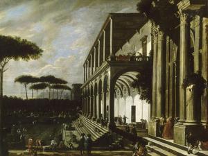 """Fête dans le jardin d'un palais dit """"portiques de deux grands édifices"""" by Viviano Codazzi"""