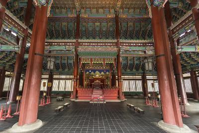Vivid Colours of Imperial Throne Hall (Geunjeongjeon) Interior, Seoul, South Korea-Eleanor Scriven-Photographic Print