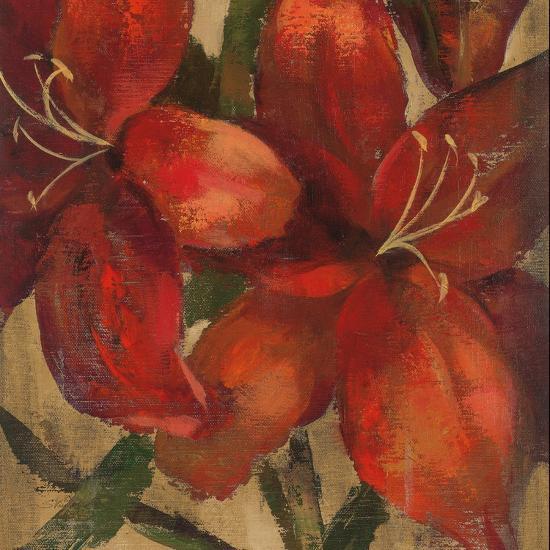 Vivid Red Lily on Gold Crop-Silvia Vassileva-Art Print