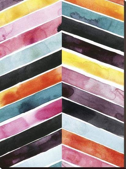 Vivid Watercolor Chevron I-Grace Popp-Stretched Canvas Print