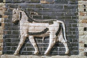 Bull, glazed bricks, Ishtar Gate, Babylon, Iraq by Vivienne Sharp