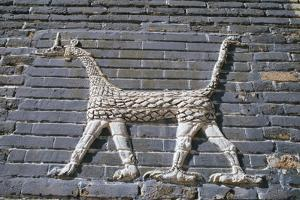 Dragon, glazed bricks, Ishtar Gate, Babylon, Iraq by Vivienne Sharp