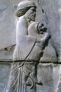 Relief of a man holding a lion cub, Persepolis, Iran by Vivienne Sharp