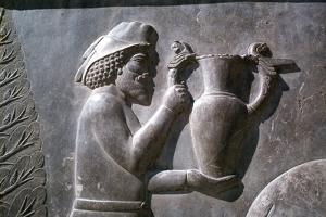 Relief of an Armenian man carrying a vessel, the Apadana, Persepolis, Iran by Vivienne Sharp
