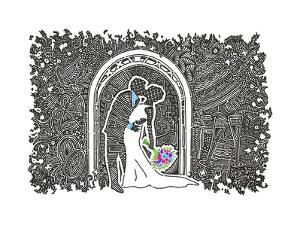 Wedding Kiss by Viz Art Ink
