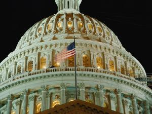 Night View of the Illuminated Dome of the Capitol Building by Vlad Kharitonov