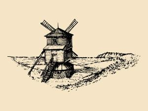 Hand Drawn Sketch of Rustic Windmill at Seashore. Vector Rural Landscape Illustration. European Cou by Vlada Young