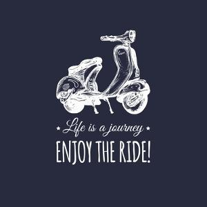 Hand Sketched Scooter Banner with Motivational Quote Life is a Journey, Enjoy the Ride in Speech Bu by Vlada Young