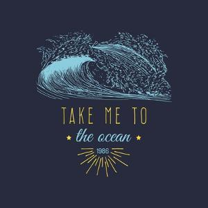 Take Me to the Ocean Vector Hand Lettering Motivational Quote Banner. Typographic Inspirational Cit by Vlada Young