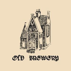 Vector Vintage Old Brewery Logo. Hand Drawn Beer Symbol. Illustration with Lettering Gothic Font Fo by Vlada Young